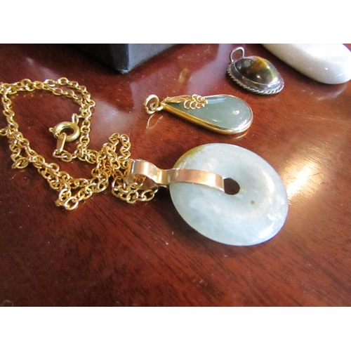 46 - Collection of Four Agate and Stone Pendants Attractive Colours...