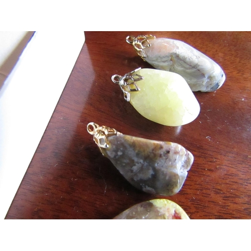 47 - Collection of Five Scottish Agate Stone Pendants Good Colours...