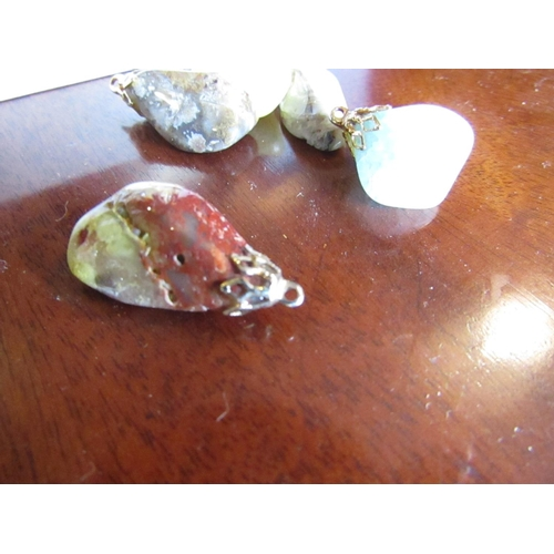 47 - Collection of Five Scottish Agate Stone Pendants Good Colours