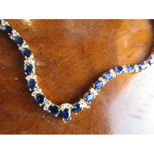 48 - Vintage Blue Gemstone Set Ladies Necklace Articulated Form Attractive Colour with Safety Clasp