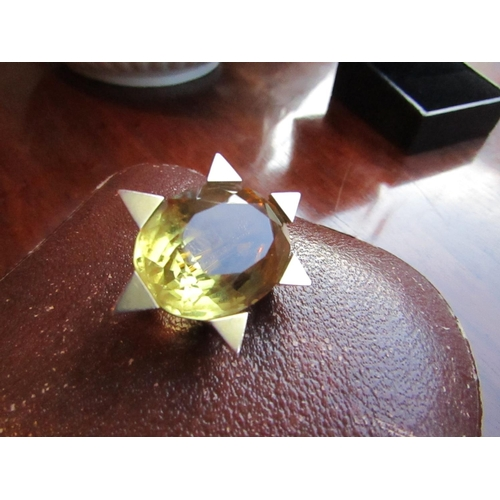 49 - Vintage 9 Carat Yellow Gold Mounted Brooch Star Form Set with Fine Clear Large Oval Cut Citrine Attr...