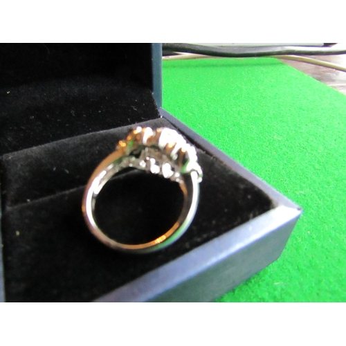 53 - Ladies Cluster Ring Mounted on 14 Carat White Gold with Heart Motif Centre Cluster Motif Attractive ...