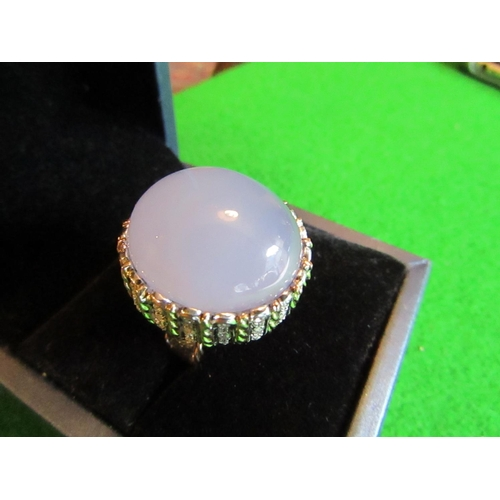 55 - Chalcedony and Diamond Set Ladies Ring Mounted on 14 Carat Gold Centre Stone Cabochon Cut Attractive...