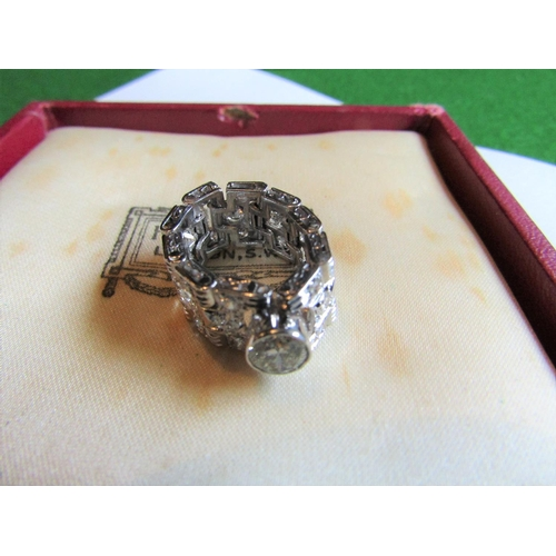 56 - Unusual Articulated Form Ladies Diamond Set Belt Motif Ring Mounted on 18 Carat White Gold Centre St...