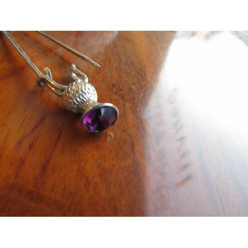 57 - Silver Scottish Amethyst Set Kilt Pin with Thistle Motifs...
