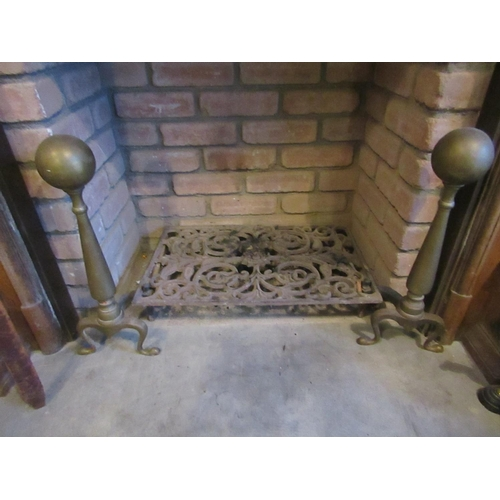 58 - Antique Pair of Cast Brass Fire Dogs with Fire Grate Each Dog Approximately 18 Inches High Grate App...