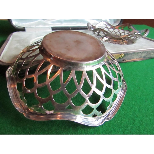 61 - Cased Pair of Hallmarked Silver Flower Head Form Reticulated Dishes Each Approximately 5 Inches Wide