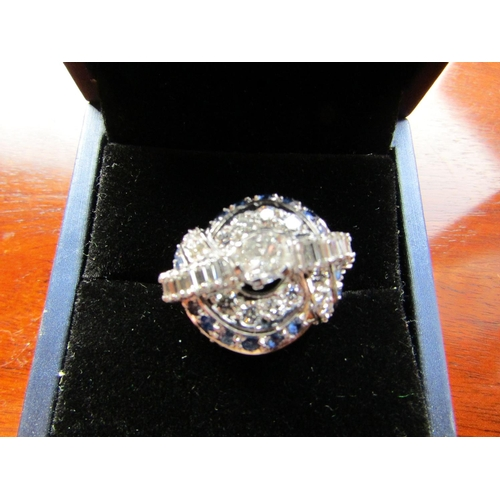 624 - 18 Carat White Gold Mounted Ladies Sapphire and Diamond Dress Ring of Elegant Form Ring Size L and a...