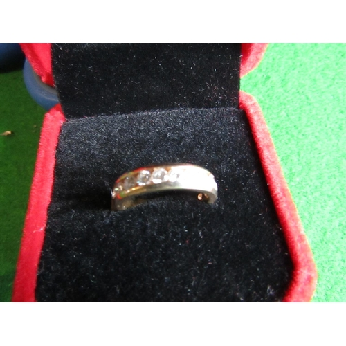 14 Carat Gold Half Eternity Ladies Diamond Ring with Twelve Fine Clear Coloured Diamonds Size I and a Half