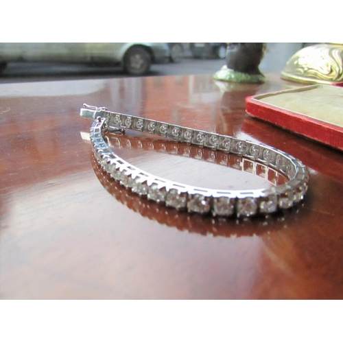 635 - Exceptional Ladies Diamond Line Bracelet Mounted on 18 Carat White Gold Approximately 8.2 Carats of ...