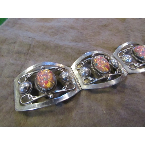 7 - Vintage Jellybean Opal Set Silver Mounted Bracelet Worn and Owned by Jane Mansfield Made by Mexican ...