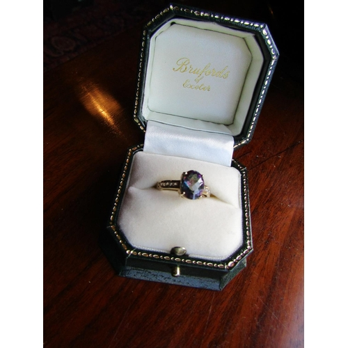 Alescandrite Centre Stone Ring Decorated with Diamonds to Shoulders Mounted on Carat Yellow Gold Ring Size L