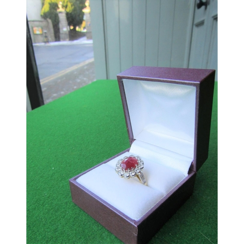 130 - Fine 18 Carat Gold Ruby and Diamond Cluster Ring Central Ruby 2.8 Carats with Approximately 1 Carat ...