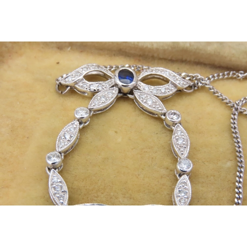 262 - Sapphire and Diamond 18 Carat White Gold Mounted Heart Motif Ladies Pendant Necklace Mounted on 18 C...