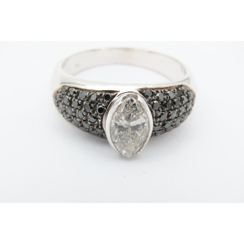 263 - Marquis Cut Diamond Centre Stone Ring Mounted on 18 Carat White Gold with Further Diamond Pave Set D...