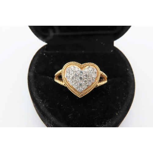 273 - Heart Motif 18 Carat Yellow Split Shank Diamond Ring Attractive Colour Ring Size N Original Retail T...