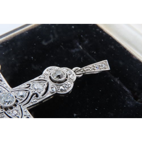 274 - Large Crucifix Pendant Approximately 3 Carats of Diamonds Height Approximately 7cm Attractive Design...