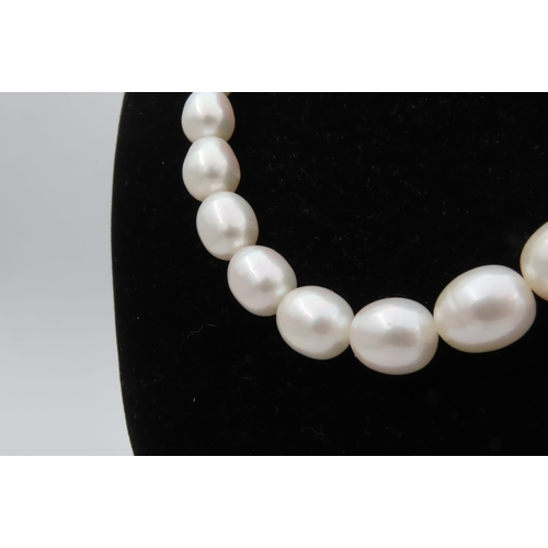 276 - Single Strand Pearl Necklace Attractive Hue with Diamond Decorated 18 Carat Yellow Gold Ball Clasp N...