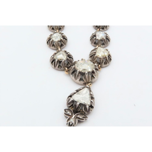 277 - Antique Diamond Riviera Necklace Mounted on 18 Carat Gold Approximately 11 Carats Old Cut European D...