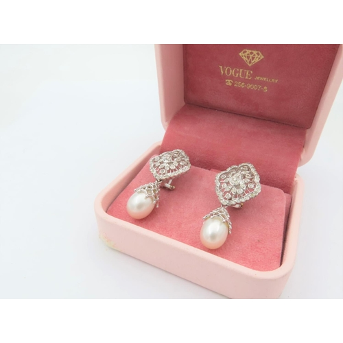 278 - Pair of 18 Carat White Gold Diamond and Natural Pearl Mounted Drop Earrings Vintage Clip On with Fil...