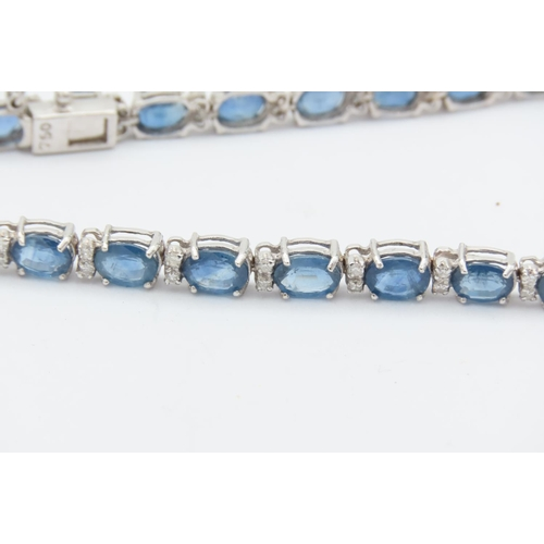 281 - Sapphire and Diamond Line Bracelet Mounted on 18 Carat White Gold Approximately 10 Carats of Sapphir...