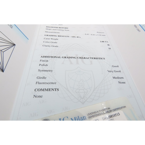 292 - Loose Diamond 2 Carats Princess Cut Colour H Clarity I1 AGI Certificate Present AIG Certificate Pres...