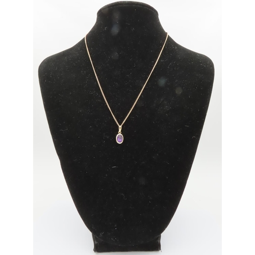 3 - Amethyst 9 Carat Gold Mounted Pendant Set on 9 Carat Gold Necklace Amethyst Measuring Approximately ...