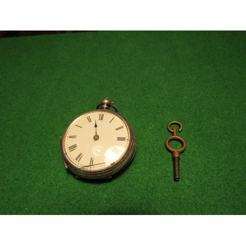 Antique Solid Silver Cased Pocket Watch Key Roman Numeral Decorated Dial