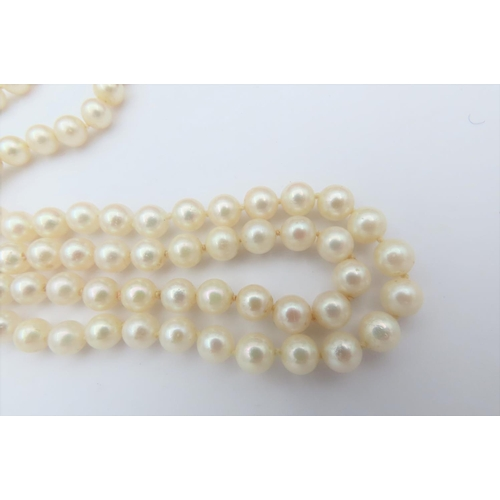 4 - Pearl Two Strand 14 Carat Gold Set Necklace Pearls with Pink Overtones 14 Carat Yellow and White Gol...