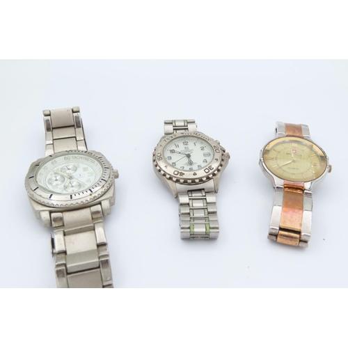 Three Gentleman's Wristwatches including Bimetal Bracelet Quartz Example Swiss