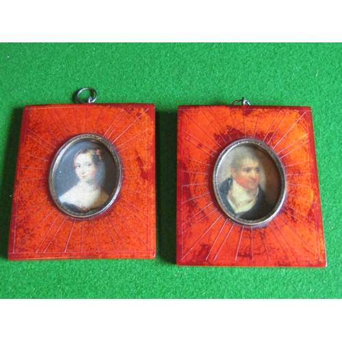 Pair of Portrait Miniatures Ormolu Bound Each Approximately 5 Inches High x 4 Inches Wide