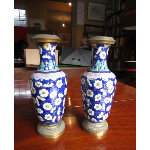 617 - Pair of Antique Cloisonne Decorated Vases Shaped Form Each Approximately 8 Inches High Attractively ...