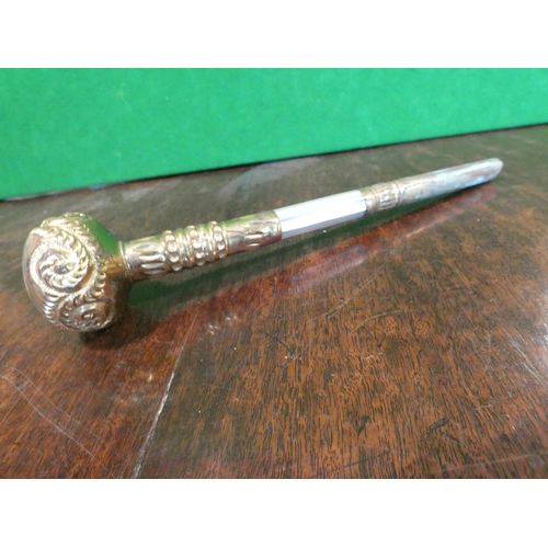 619 - Gold Decorated Antique Parasol Handle Unmarked Possibly 18 Carat Gold Handle Approximately 8 Inches ...