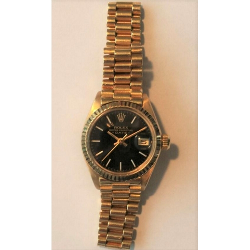 701 - Rolex 18 Carat Yellow Gold Ladies Oyster Perpetual Datejust Wristwatch Very Good Original Condition ...