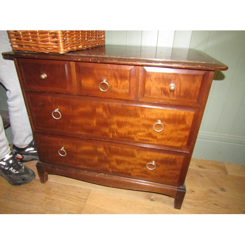 10 - Mahogany Chest of Three Short Two Long Drawers above Shaped Supports Approximately 38 Inches Wide x ...
