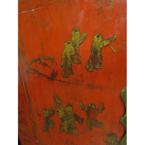 11 - Eastern Red Ground Gilt Decorated Two Door Cabinet Brass Lock Plate Approximately 32 Inches Wide x 3...