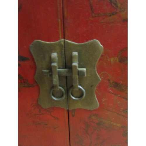 12 - Matching Eastern Red Ground Gilt Decorated Two Door Cabinet Brass Lock Plate Approximately 32 Inches...