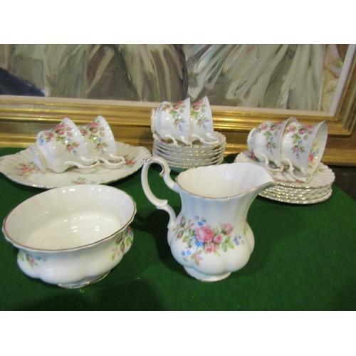 Fine Bone Porcelain Tea Set with Floral Motif Decoration Good Original Condition Quantity As Photographed