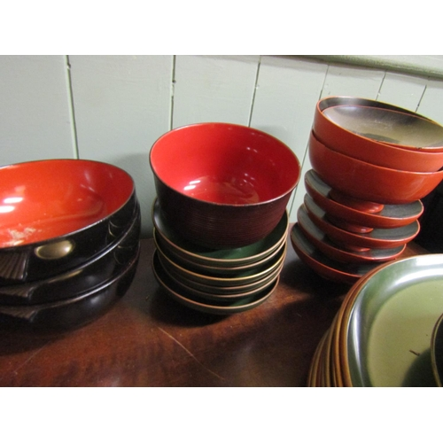 13 - Collection of Various Lacquer Decorated Tableware Quantity As Photographed