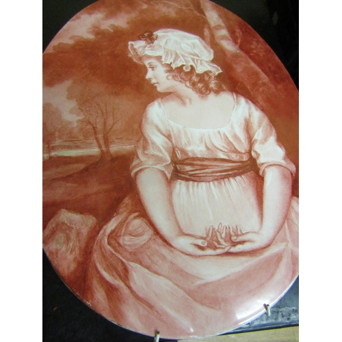 14 - Pair of Fine Porcelain Oval Form Wall Plaques Each Approximately 12 Inches High Good Condition