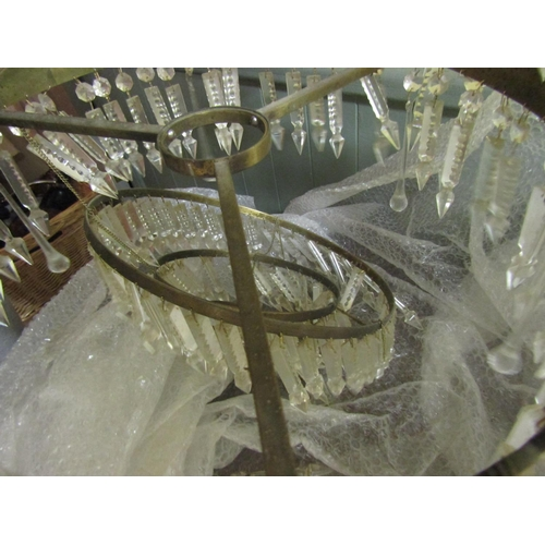17 - Antique French Art Deco Ceiling Light with Various Cut Crystal Lusters Original Ceiling Rose Approxi...