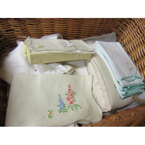 19 - Collection of Various Irish Linens including Carry Basket