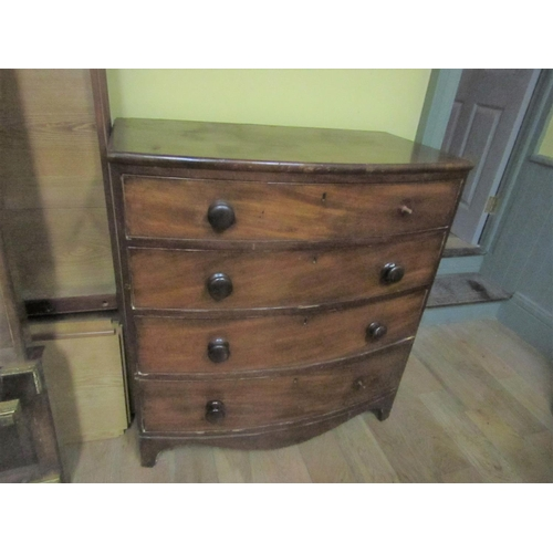 2 - Regency Figured Mahogany Bow Front Chest of Drawers Approximately 42 Inches Wide