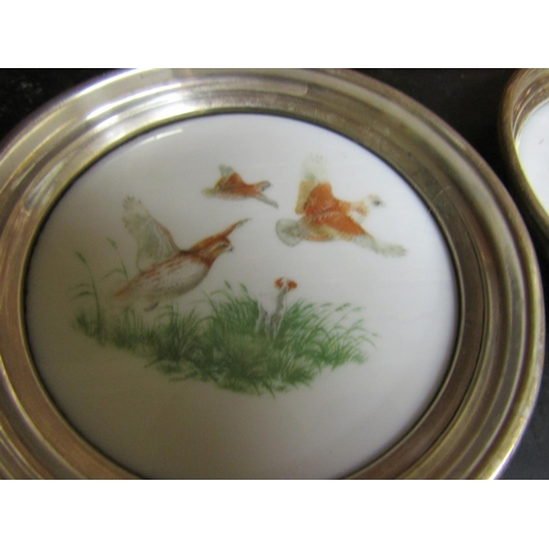 22 - Six Solid Silver Mounted Table Coasters Decorated with Various Birds Each Approximately 4 Inches Dia...