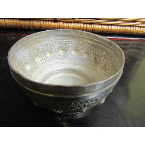 24 - Eastern Silver Bowl with Cover Embossed Decoration...