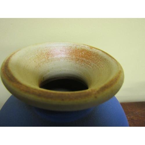 27 - Australian Cobalt Blue Terracotta Southern Star Pottery Vase Outback Series Dated 1987 Potter Jeff S...