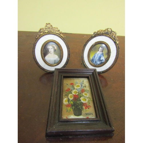 36 - Pair of Portrait Miniatures Ormolu Mounted with Still Life Painting Three Items in Lot...