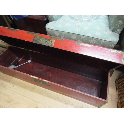 37 - Oriental Red Ground Dome Top Wooden Trunk with Brass Mounts Approximately 48 Inches Wide...