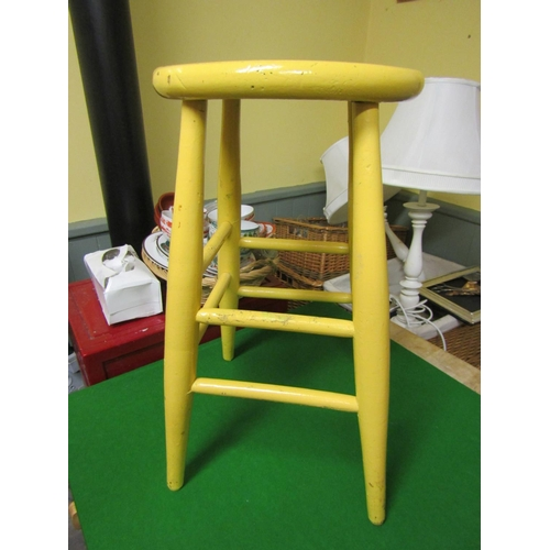 Old Yellow Painted Wooden Stool