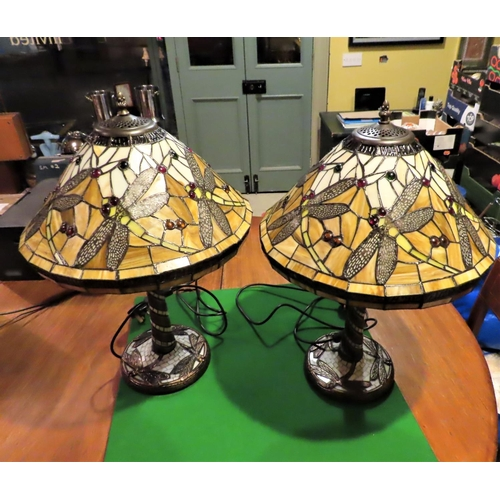 Pair of Tiffany Dragonfly Motif Stained Glass Table Lamps Electrified Working Order with Bronzed Columns Each Approximately 22 Inches High